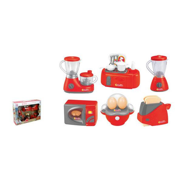 Набор бытовой техники — соковыжималка, блендер, плита, микроволновая печь, яйцеварка, тостер, JUNFA TOYS  - купить со скидкой