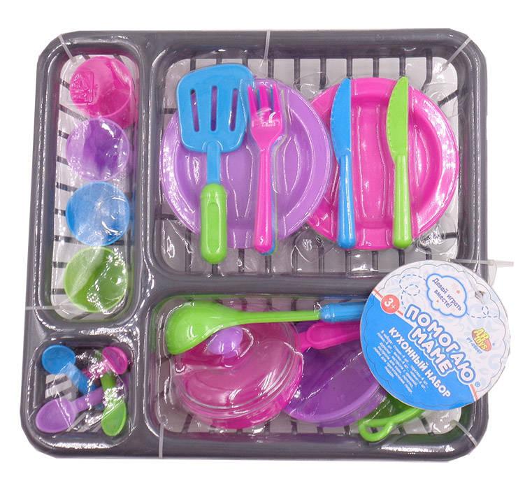 Игровой набор Помогаю маме – Посуда для кухни на поддоне, 27 предметовАксессуары и техника для детской кухни<br>Игровой набор Помогаю маме – Посуда для кухни на поддоне, 27 предметов<br>