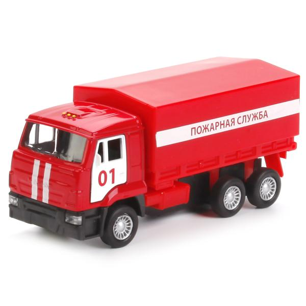 Инерционная модель – Пожарная служба. Бортовой КамАЗ со съемным тентом, 12 смПожарная техника, машины<br>Инерционная модель – Пожарная служба. Бортовой КамАЗ со съемным тентом, 12 см<br>