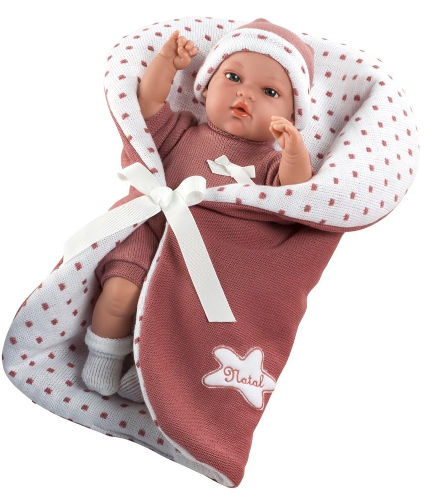 Интерактивная кукла из коллекции Elegance – Пупс, 33 см, в одежде, мягконабивное тело, со светло-бордовым одеялом и соской, плачет