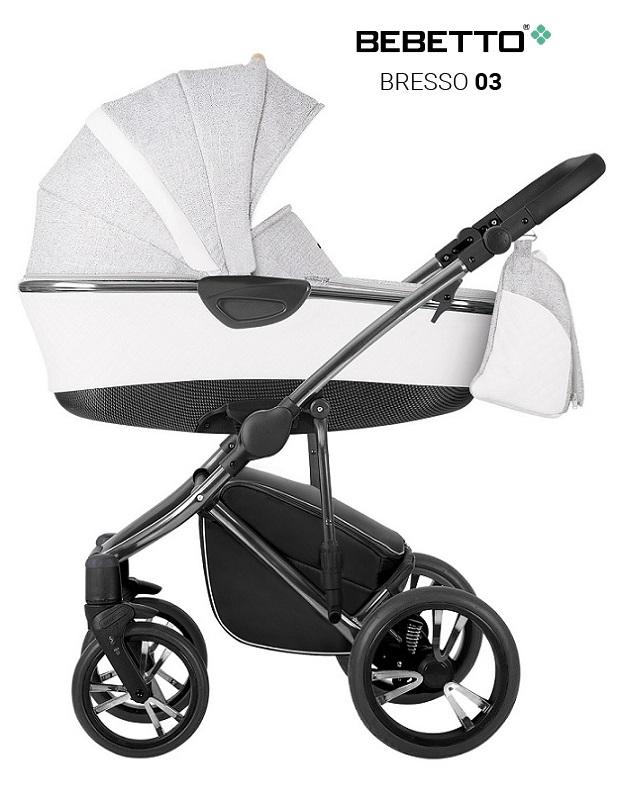 Купить Детская коляска Bebetto Bresso Premium Class Chanel 2 в 1, шасси хромированное, цвет – светло-серый