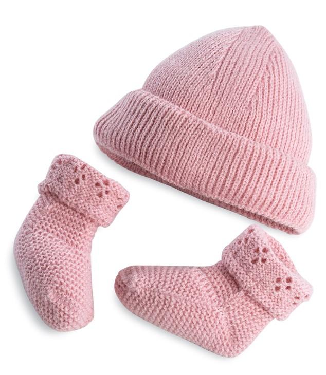 Набор одежды для куклы из серии Elegance 42 см.: розовая шапочка и розовые пинетки