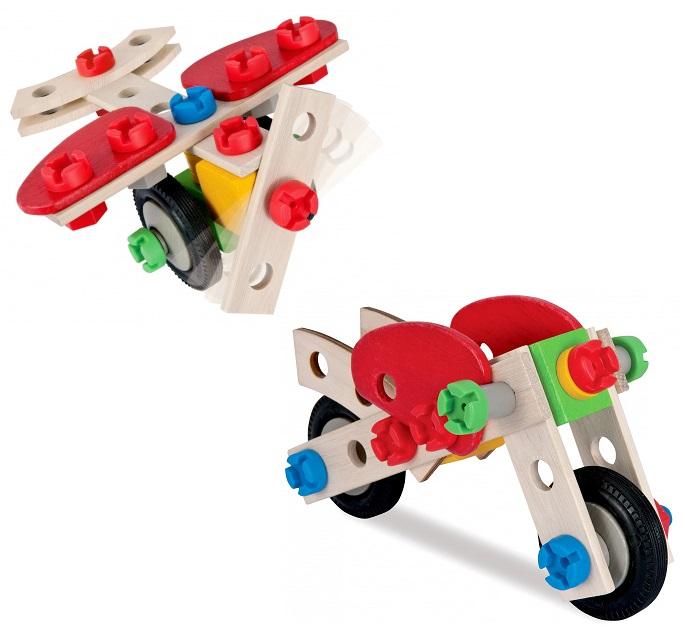 Конструктор - Мотоцикл, 2 варианта сборки, 40 деталейДеревянный конструктор<br>Конструктор - Мотоцикл, 2 варианта сборки, 40 деталей<br>