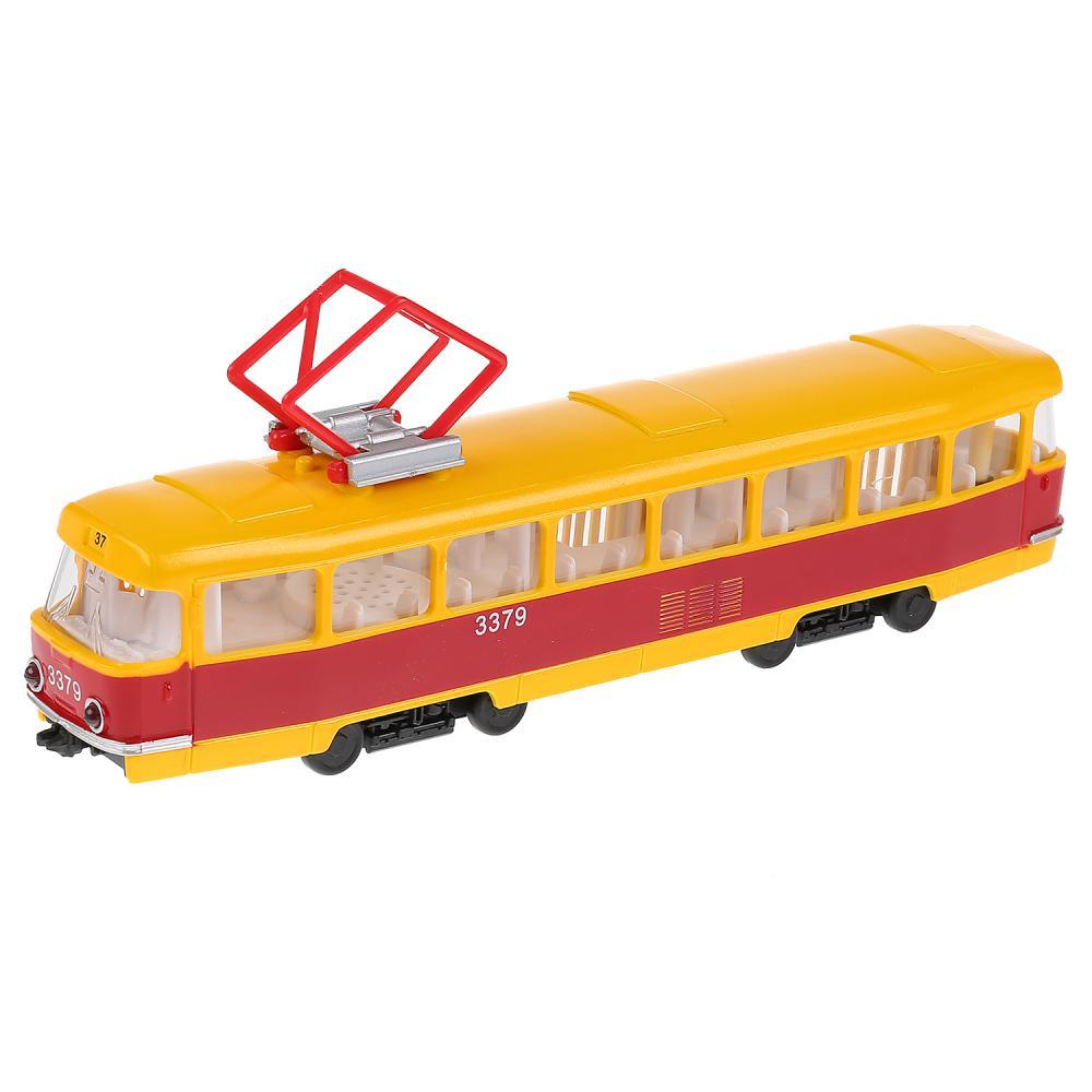 Купить Трамвай, 24 см, свет и звук, открываются двери, Технопарк
