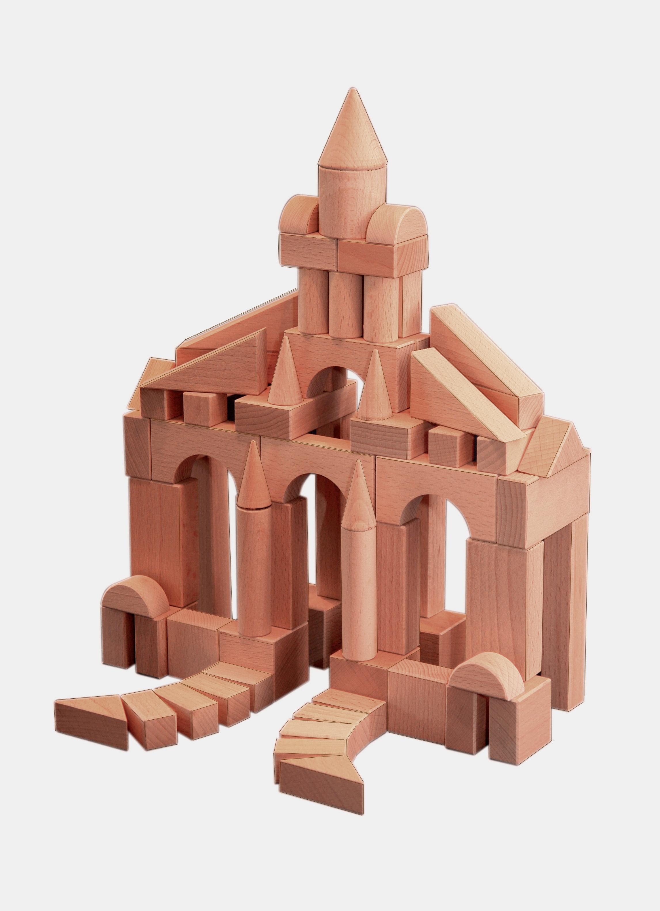 Конструктор деревянный не окрашенный, 70 деталейКубики<br>Конструктор деревянный не окрашенный, 70 деталей<br>