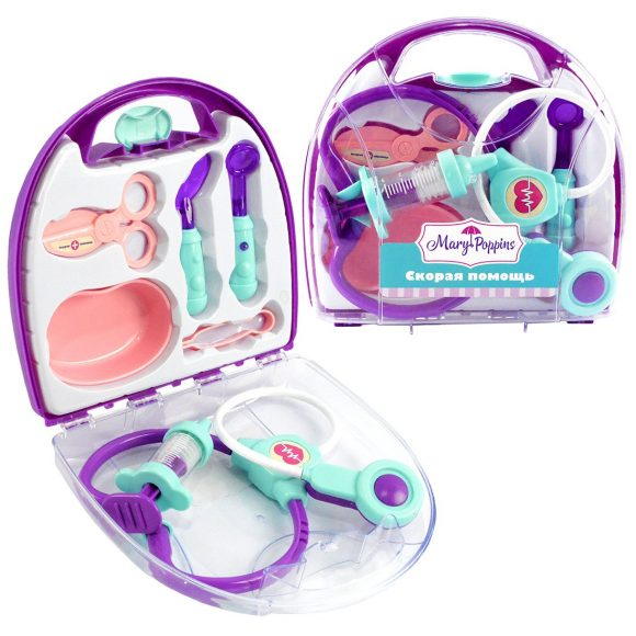 Купить Медицинский набор в чемоданчике - Скорая помощь, 7 предметов, фиолетовый, свет и звук, Mary Poppins