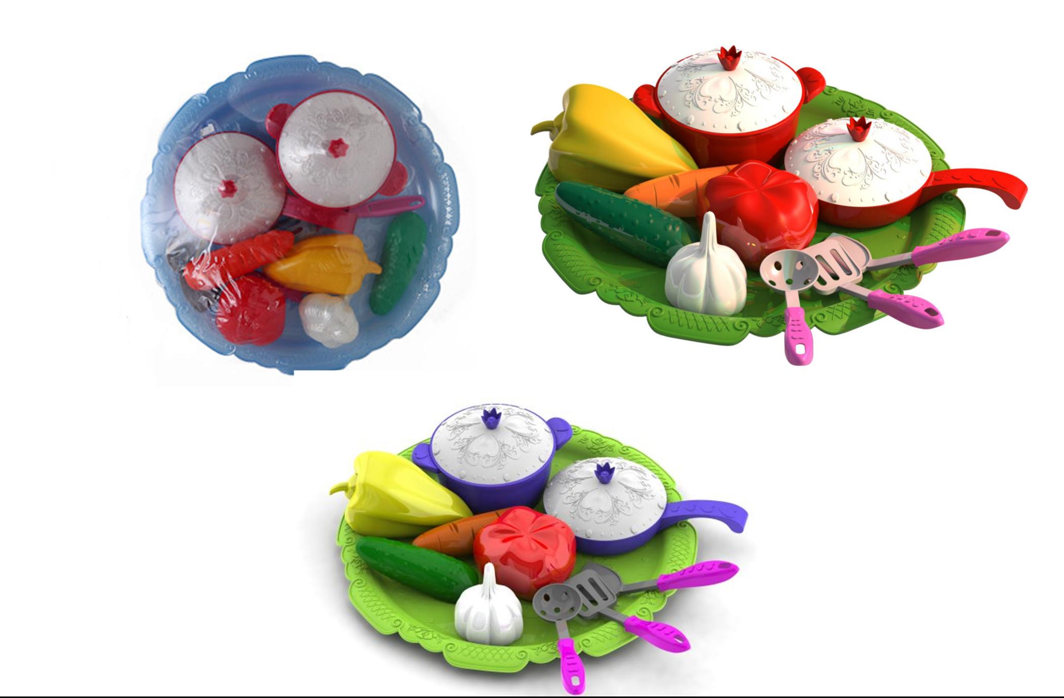 Игровой набор овощей и кухонной посуды «Волшебная Хозяюшка», 12 предметов на подносеАксессуары и техника для детской кухни<br>Игровой набор овощей и кухонной посуды «Волшебная Хозяюшка», 12 предметов на подносе<br>