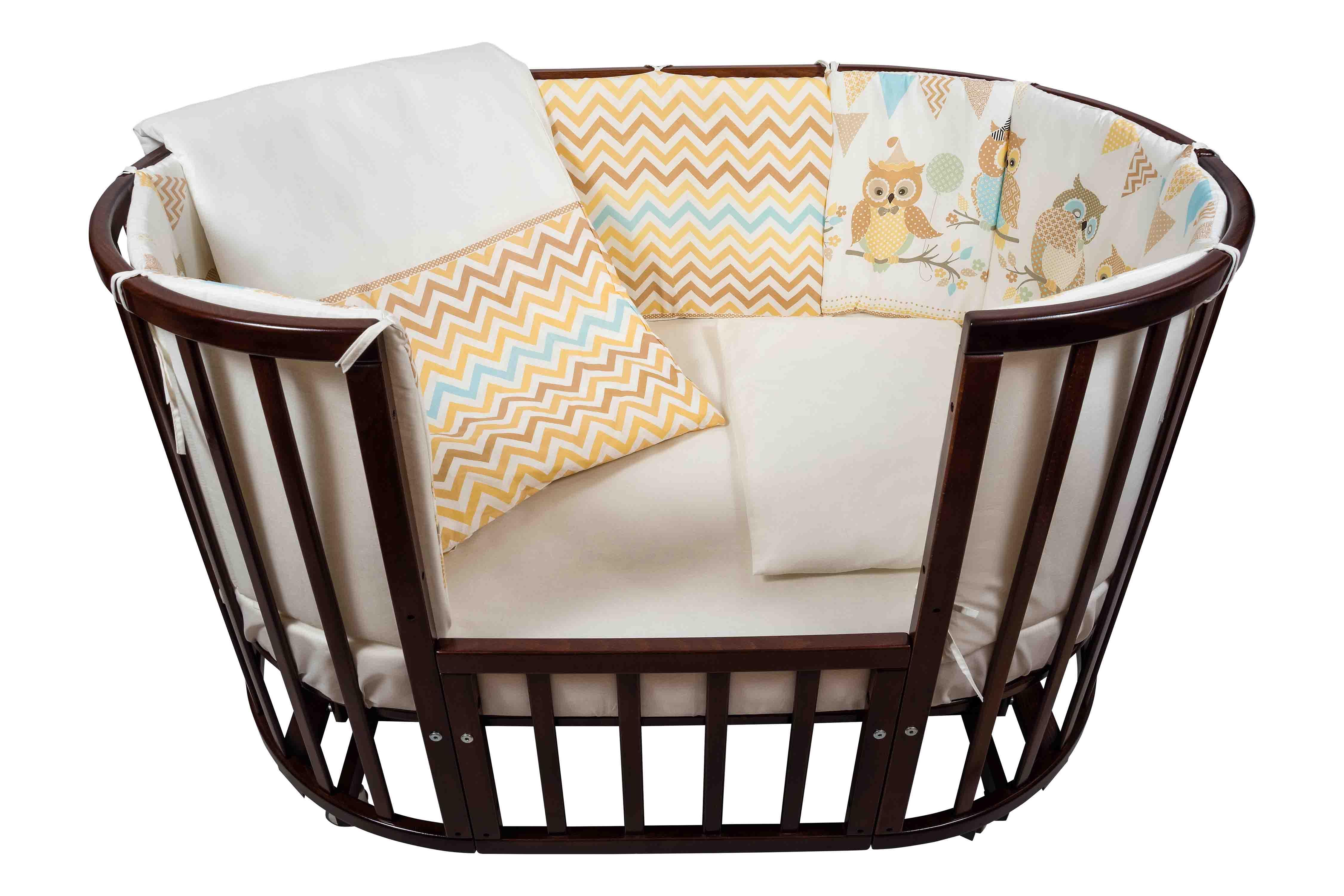 Комплект для кроватки Nuovita – Gufi, 6 предметов, бежевыйДетское постельное белье<br>Комплект для кроватки Nuovita – Gufi, 6 предметов, бежевый<br>