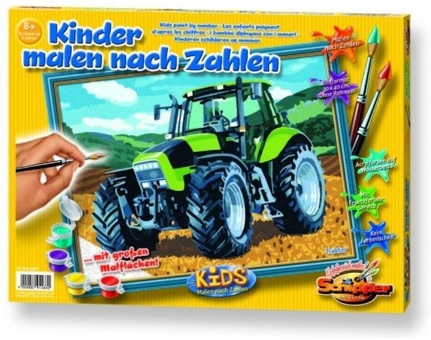 Трактор, 40*50 смРаскраски по номерам Schipper<br>Раскраска по номерам Трактор<br>Размер готовой работы: 30 х 40 см<br>