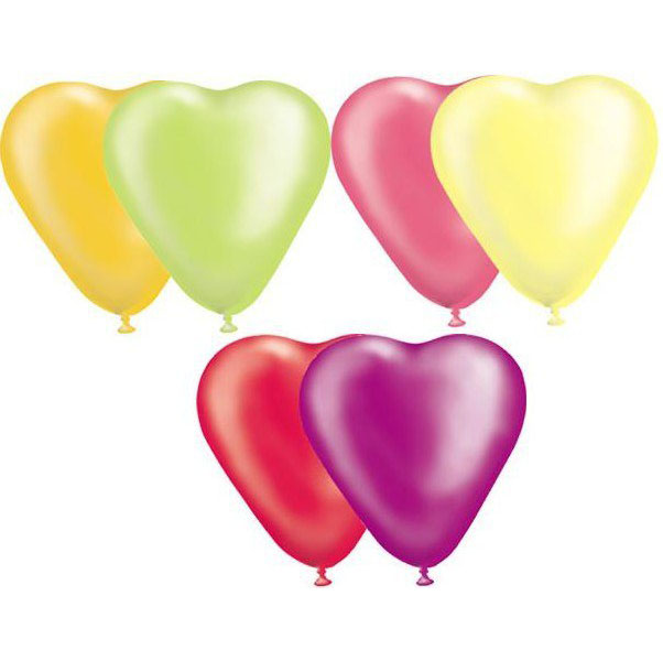 Набор шаров – Сердце неон, 10 шт. по 30 см.Воздушные шары<br>Набор шаров – Сердце неон, 10 шт. по 30 см.<br>