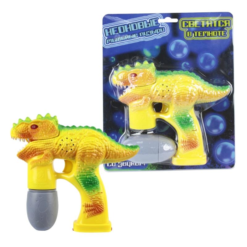 Купить Пистолет с мыльными пузырями из серии Мы-шарики! - Динозавр, со световыми и звуковыми эффектами, яйцо-бутылка 70 мл, 1TOY