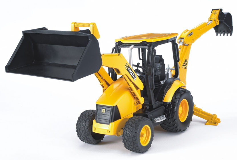 Экскаватор – погрузчик колёсный Bruder JCB MIDI CXБетономешалки, краны, самосвалы Bruder<br>Экскаватор – погрузчик колёсный Bruder JCB MIDI CX<br>