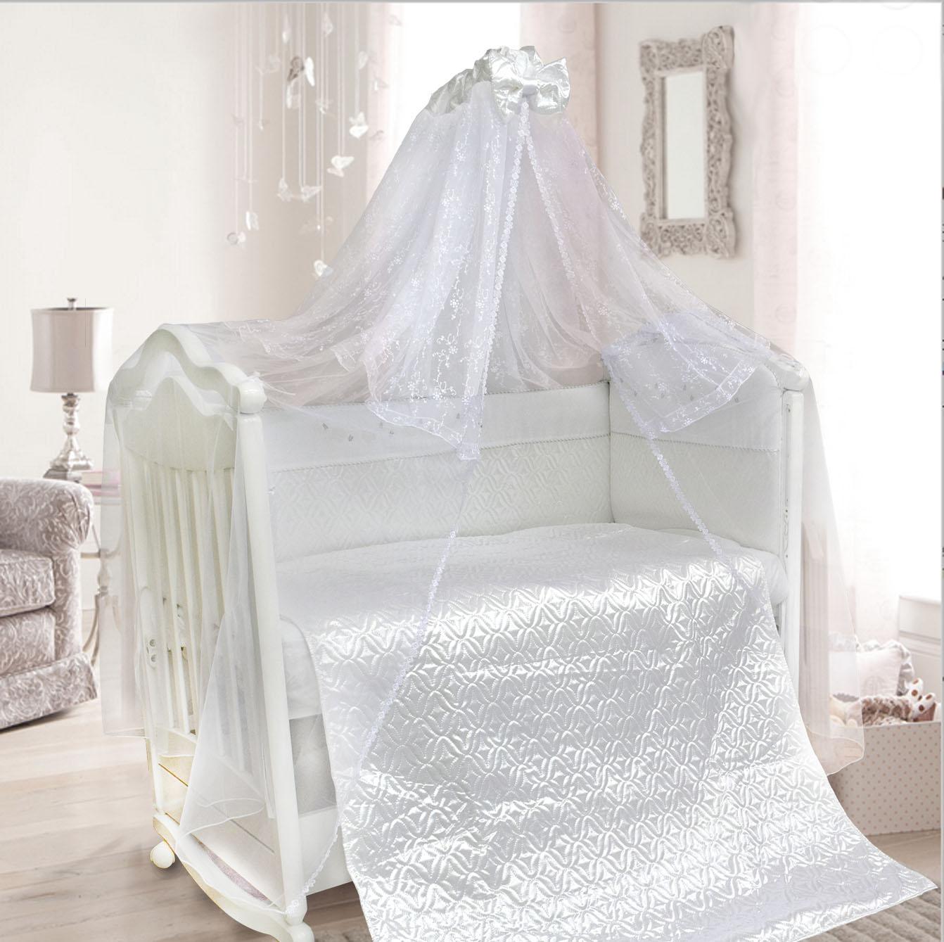 Комплект в кроватку - Мила, 6 предметов, белыйДетское постельное белье<br>Комплект в кроватку - Мила, 6 предметов, белый<br>