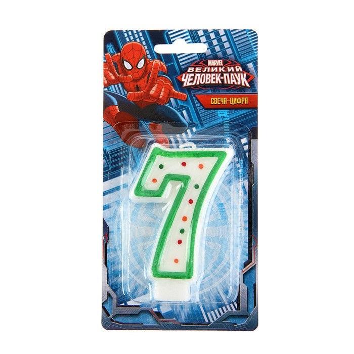Свеча-цифра 7 - Человек-ПаукСвечи для торта<br>Свеча-цифра 7 - Человек-Паук<br>