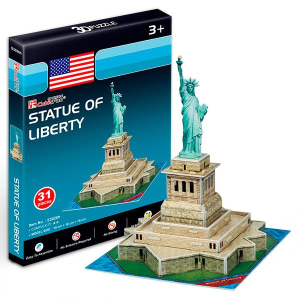 Купить Объемный 3D-пазл Статуя Свободы, США, мини серия, Cubic Fun