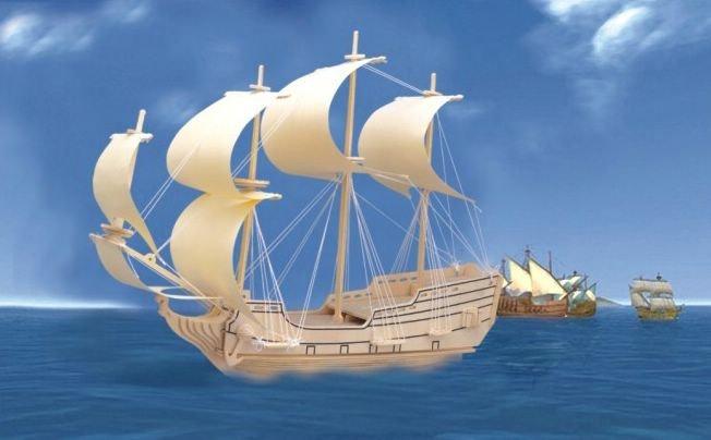 Сборная деревянная модель - Парусник ОрёлПазлы объёмные 3D<br>Сборная деревянная модель - Парусник Орёл<br>