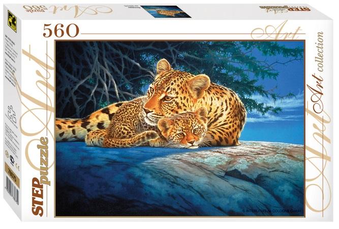 Пазл Леопарды в ночи, 560 элементовПазлы 500 элементов<br>Пазл Леопарды в ночи, 560 элементов<br>