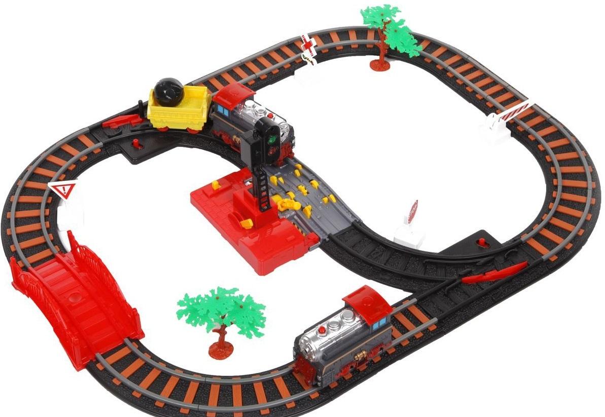 Железная дорога  Останови крушение! с 2-мя стрелками, механизмом остановки и семафором - Детская железная дорога, артикул: 163684