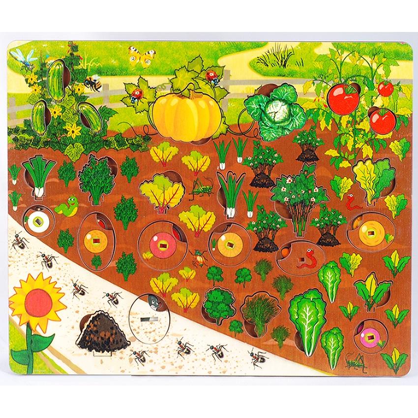 Доска развивающая, набор  Овощи на грядке, 3D - Деревянные игрушки, артикул: 175282