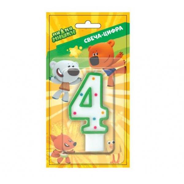 Свеча-цифра 4 серии Мимимишки, на блистереСвечи для торта<br>Свеча-цифра 4 серии Мимимишки, на блистере<br>