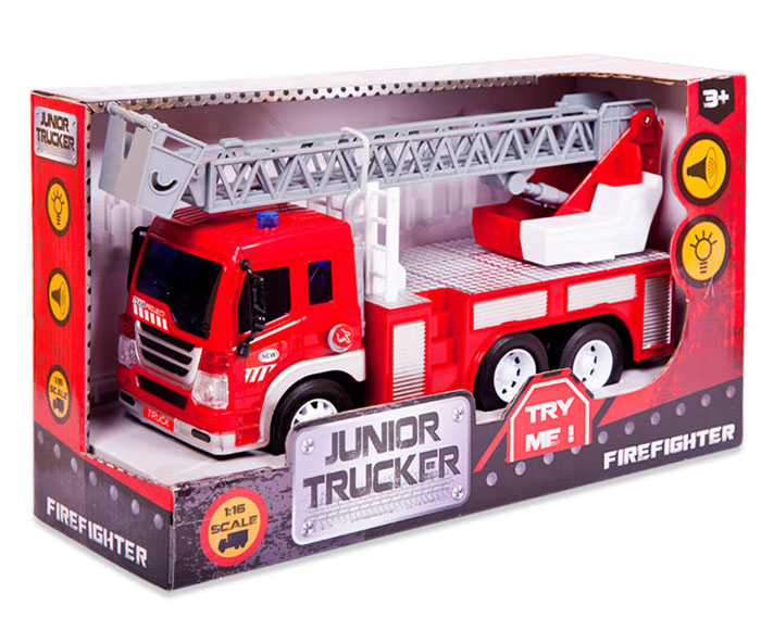 Пожарная машина с лестницей, инерционная со световыми и звуковыми эффектамиПожарная техника, машины<br>Пожарная машина с лестницей, инерционная со световыми и звуковыми эффектами<br>