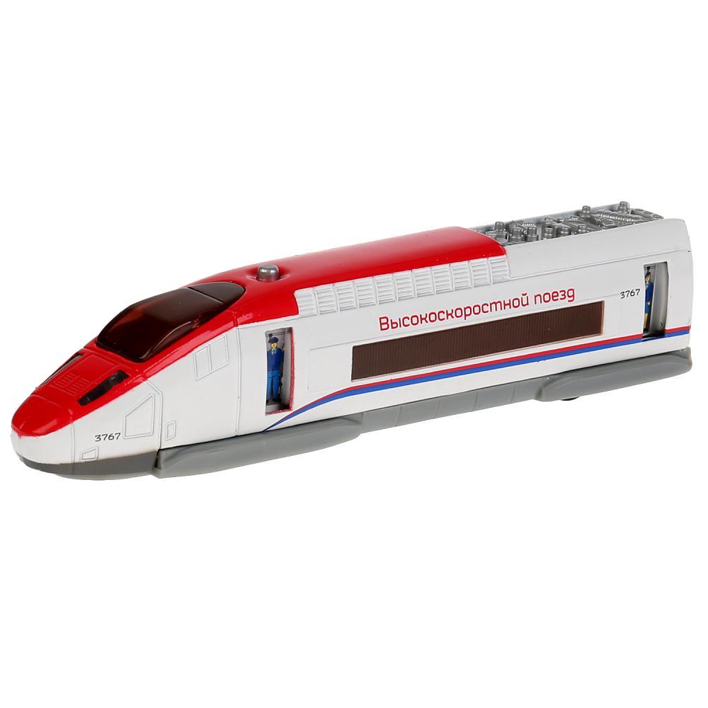 Купить Поезд скоростной металлический, свет и звук, инерционный, открываются двери, 18, 5 см, Технопарк