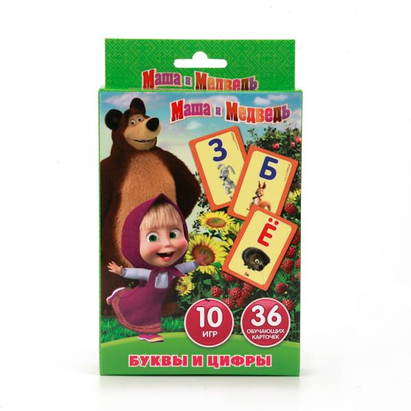 Карточки развивающие из серии «Маша и медведь» – Учим алфавит и цифры, 36 карточек от Toyway