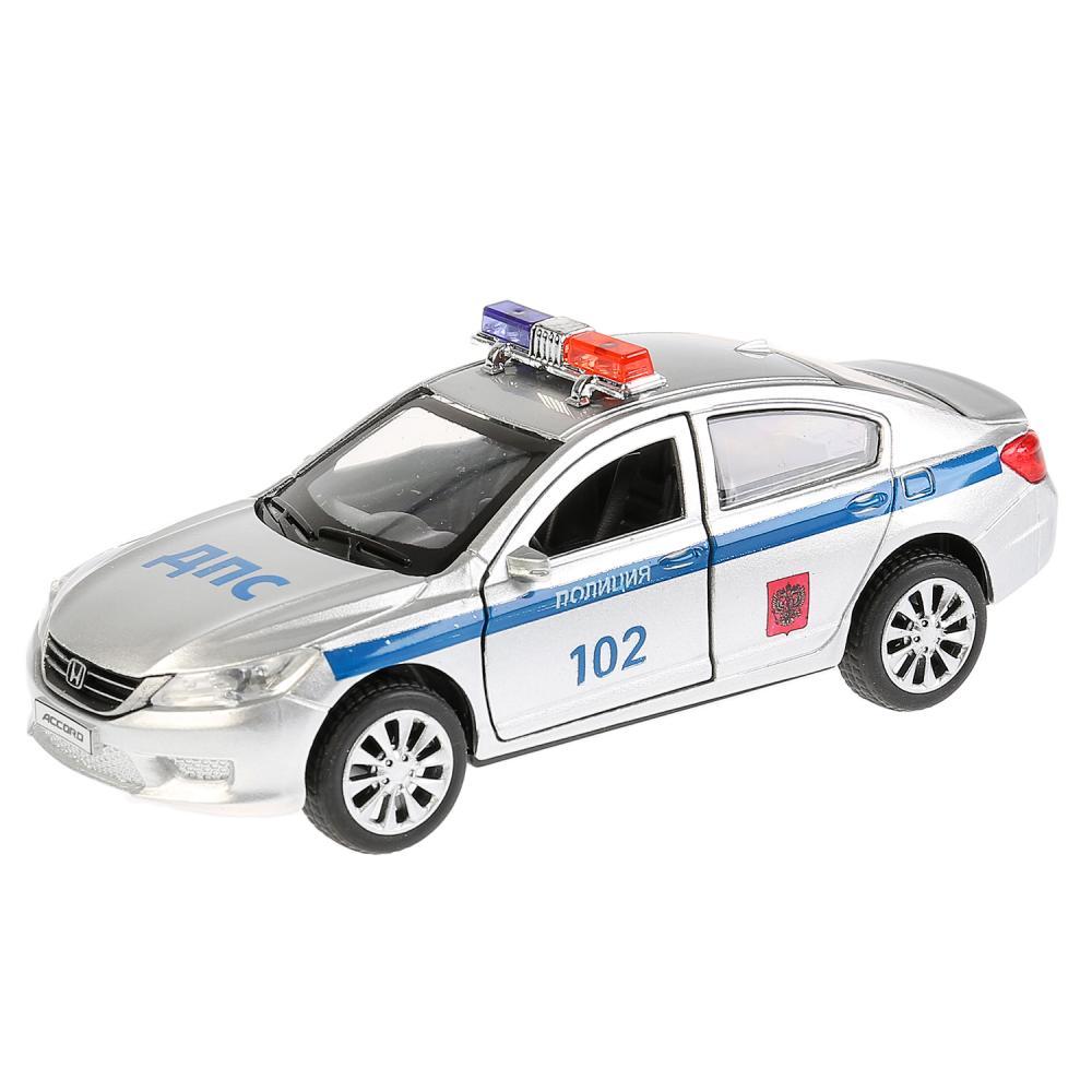 Купить Машина металлическая Honda Accord Полиция 12 см, открываются двери, инерционная, Технопарк