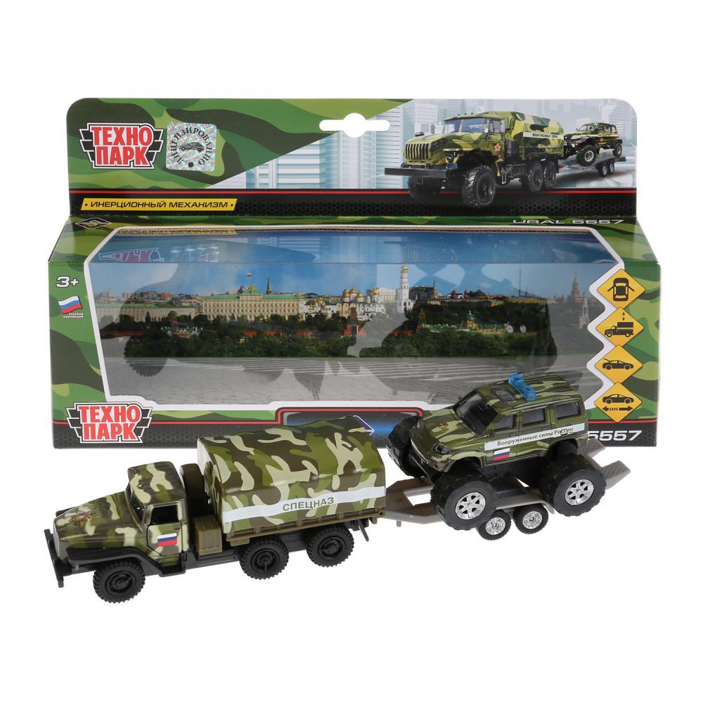 Купить Набор - металлический инерционный грузовик Урал с тентом, 12 см и УАЗ Patriot, 7, 5 см, Технопарк