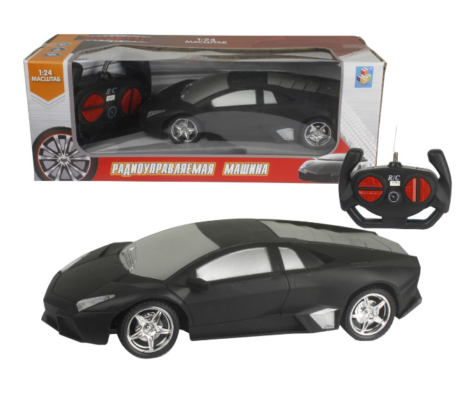 картинка Машина на радиоуправлении Спортавто, 1:24, 20 см, свет, матовый черный от магазина Bebikam.ru