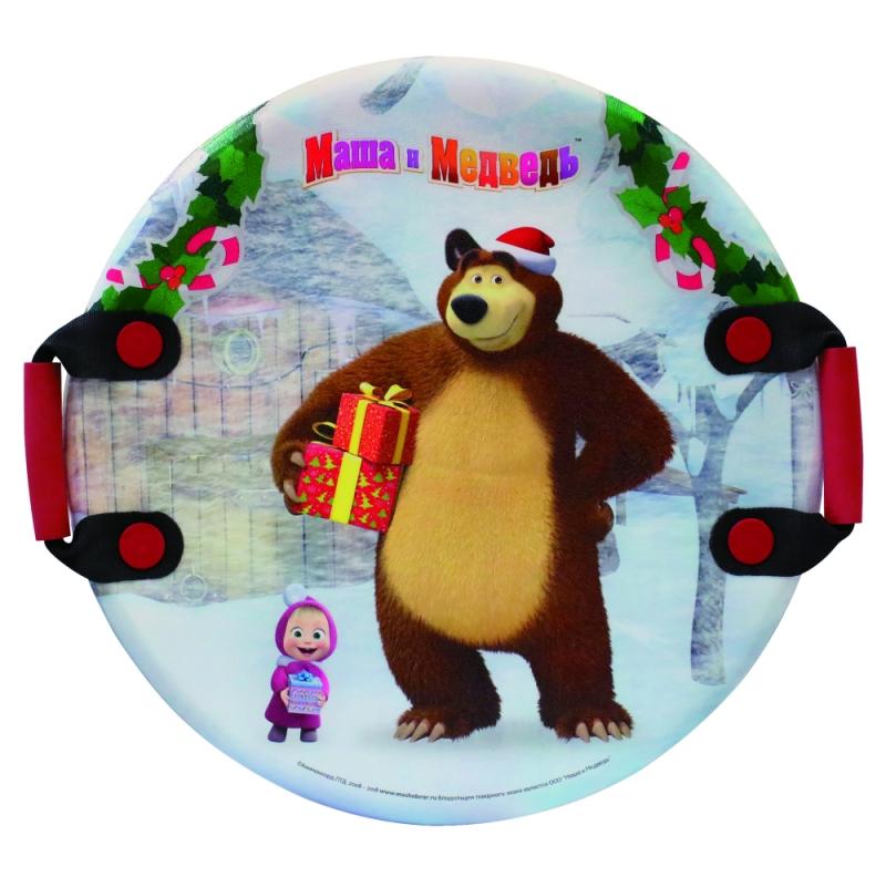 Купить Ледянка Маша и Медведь 54 см, круглая с плотными ручками, 1TOY