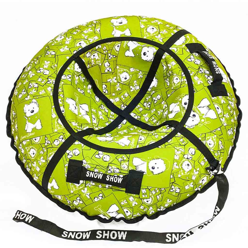 Санки надувные - Тюбинг, собачки на салатовом, диаметр 118 смВатрушки и ледянки<br>Санки надувные - Тюбинг, собачки на салатовом, диаметр 118 см<br>