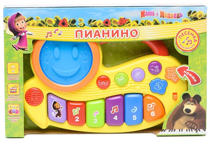 Пианино «Маша и медведь» на батарейках, со световыми эффектамиСинтезаторы и пианино<br>Пианино «Маша и медведь» на батарейках, со световыми эффектами<br>