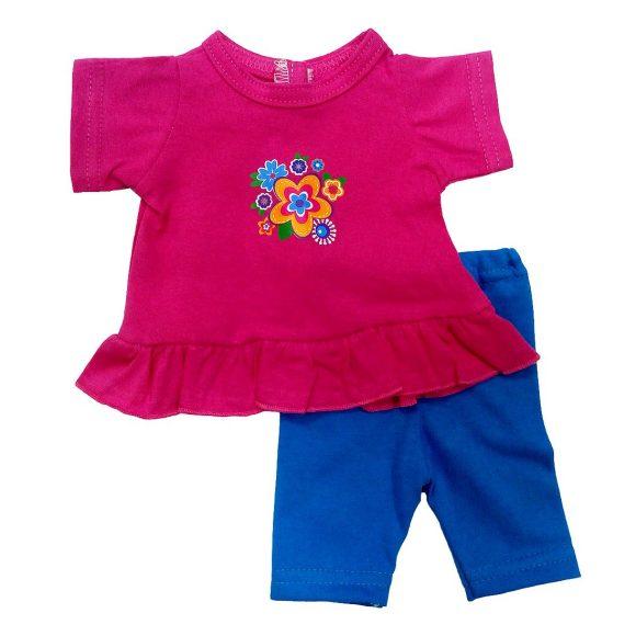 Одежда для куклы размером 38-43 см. - туника с цветочками и легинсыОдежда для кукол<br>Одежда для куклы размером 38-43 см. - туника с цветочками и легинсы<br>
