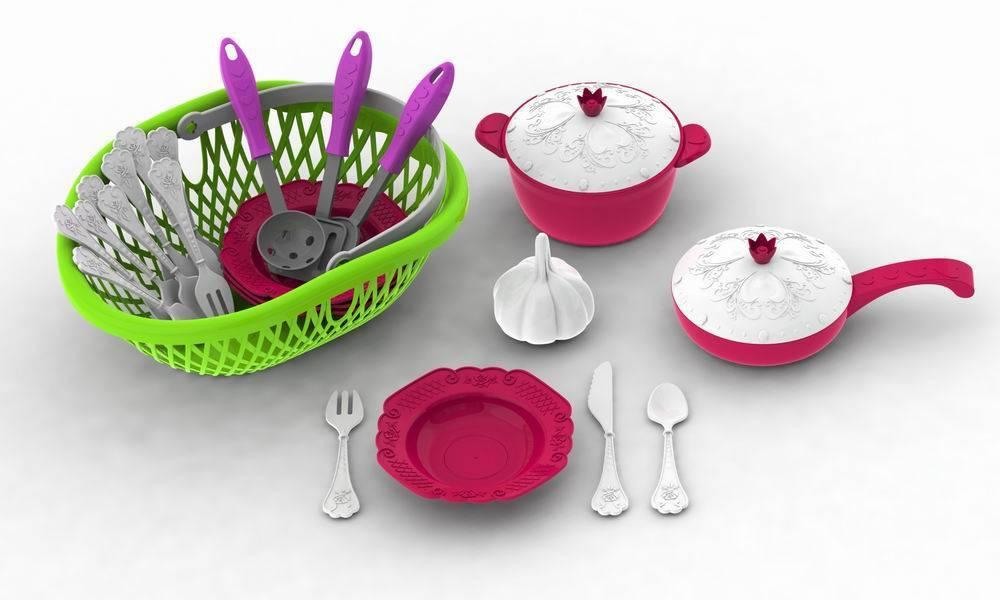 Набор посуды - Кухонный сервиз из серии Волшебная Хозяюшка, 23 предмета в лукошке + чеснок в подарокАксессуары и техника для детской кухни<br>Набор посуды - Кухонный сервиз из серии Волшебная Хозяюшка, 23 предмета в лукошке + чеснок в подарок<br>