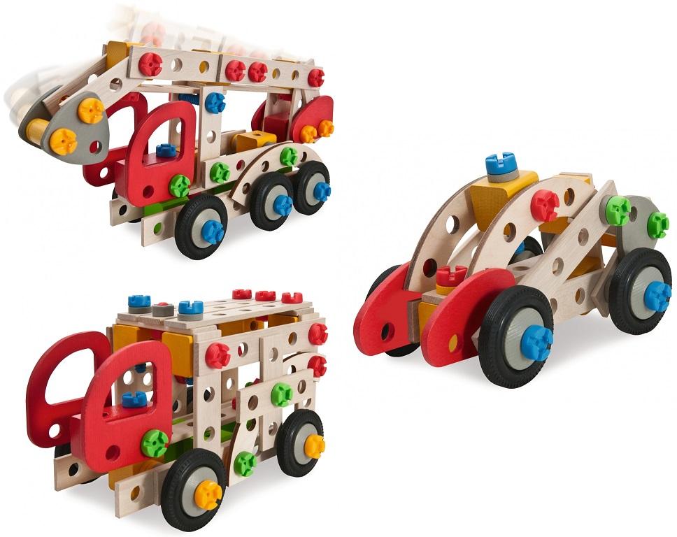 Конструктор - Пожарная машина, 3 варианта сборки, 155 деталейДеревянный конструктор<br>Конструктор - Пожарная машина, 3 варианта сборки, 155 деталей<br>