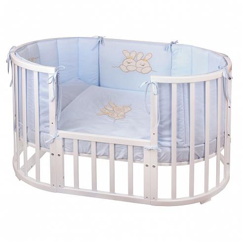 Комплект в кроватку Nuovita - Leprotti, 6 предметов, голубойДетское постельное белье<br>Комплект в кроватку Nuovita - Leprotti, 6 предметов, голубой<br>