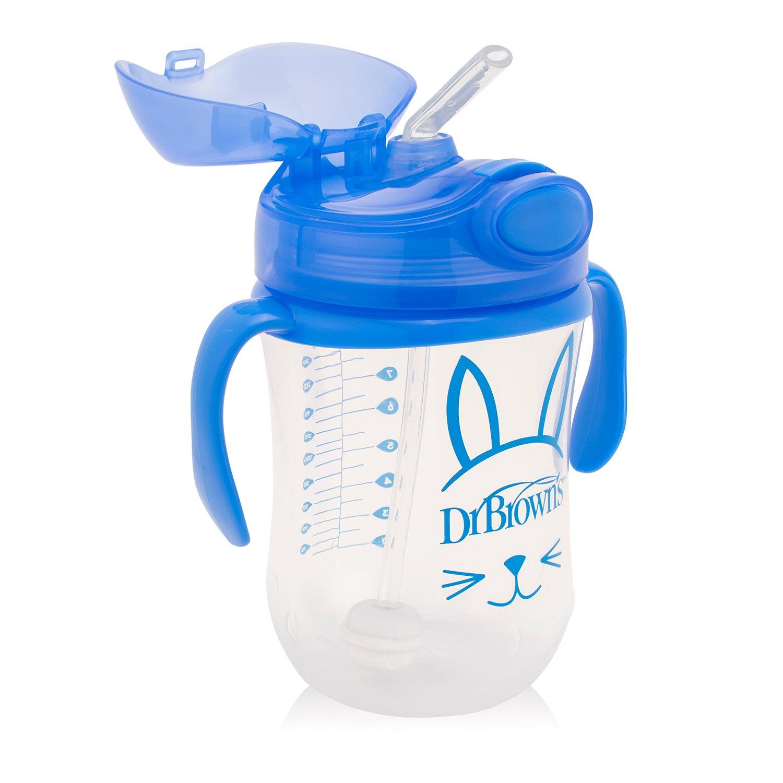 Чашка-непроливайка 270 мл с трубочкой и грузиком 6+ месяцев, голубая