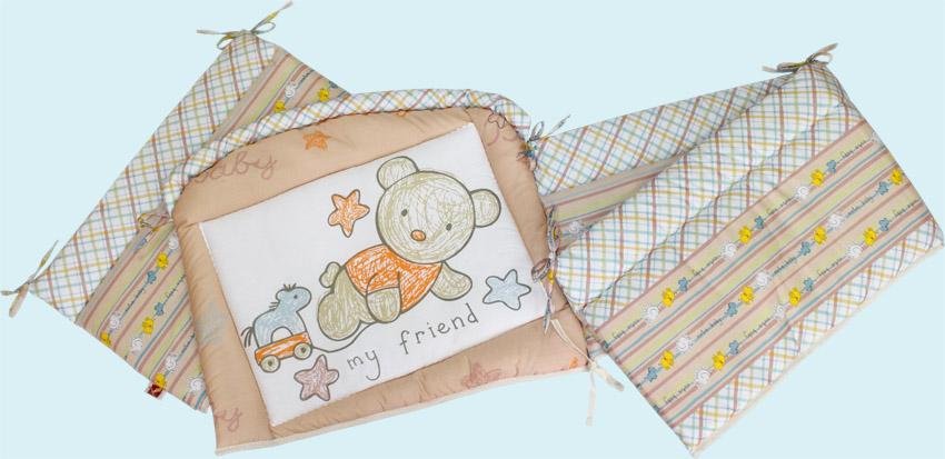 Бампер - Zoo Bear, бежевыйДетское постельное белье<br>Бампер - Zoo Bear, бежевый<br>