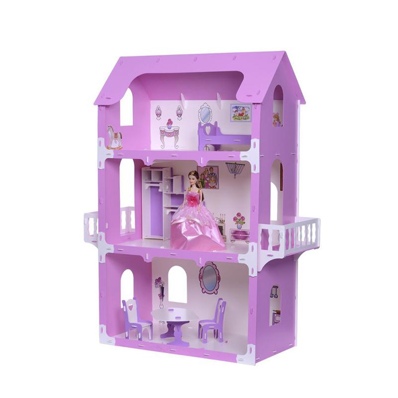 Домик для кукол - Коттедж Екатерина, бело-розовый, с мебелью