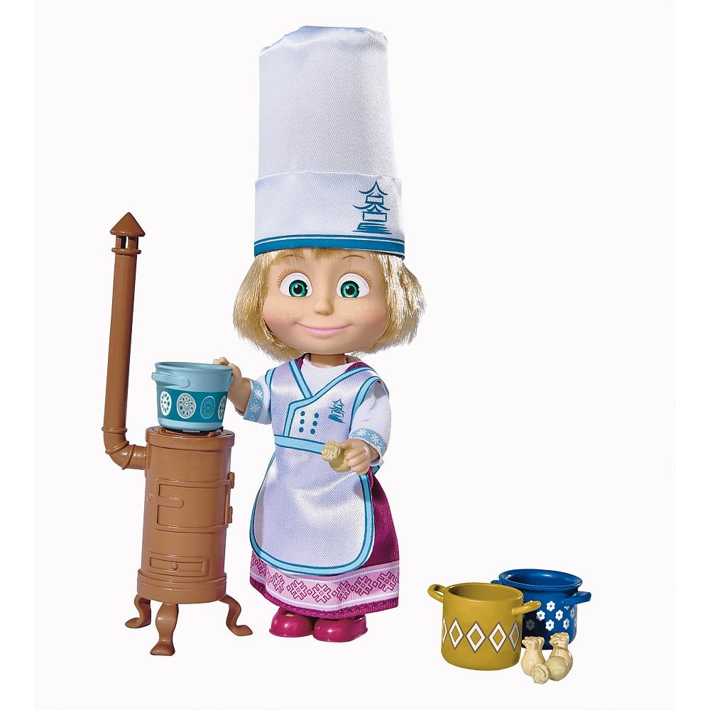 Кукла Маша в одежде повара и с аксессуарами, 12 см.Маша и медведь игрушки<br>Кукла Маша в одежде повара и с аксессуарами, 12 см.<br>