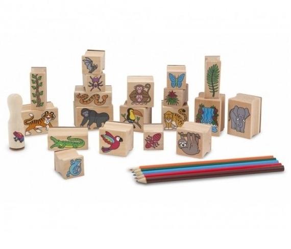 Набор печатей  Джунгли  с цветными карандашами - Рисование, артикул: 138088