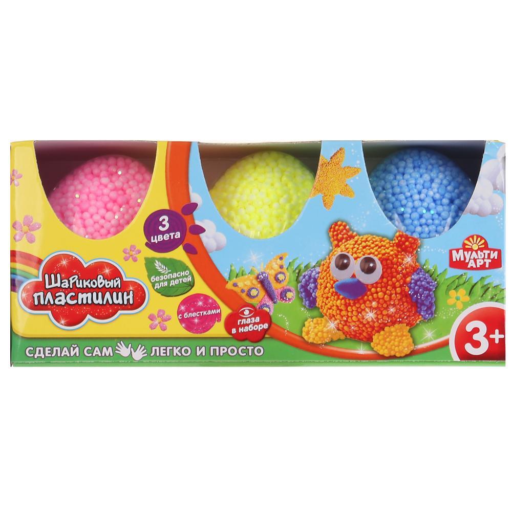 Набор шарикового крупнозернистого незастывающего пластилина с блеском и глазками, 3 цвета, в яйцах фото