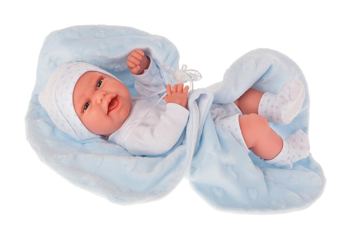 Купить Кукла-младенец – Эва на голубом одеяльце, 33 см, Antonio Juan Munecas