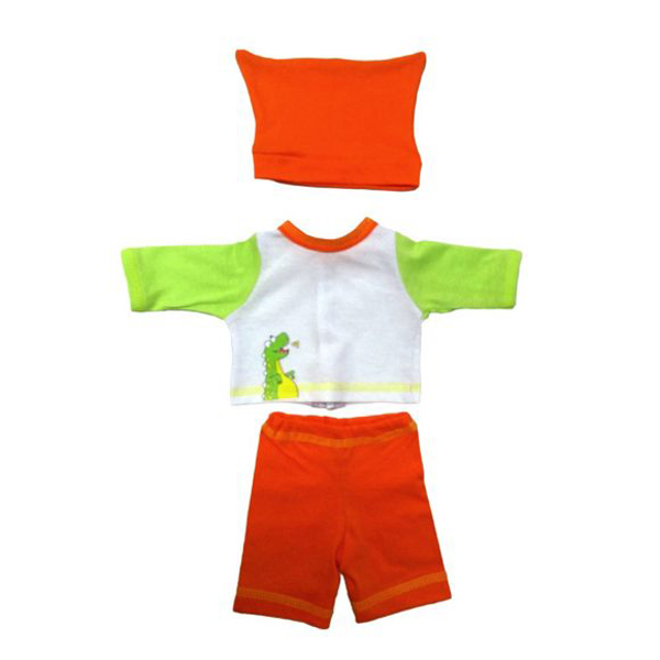 Купить со скидкой Одежда для куклы размером 38-43 см.: кофточка, брючки и шапочка Дино