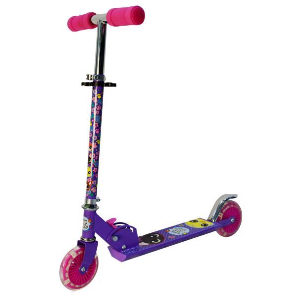 Купить Самокат 2-колесный складной из серии Pet Shop с алюминиевым корпусом, пластиковыми светящимися колесами 120 мм.