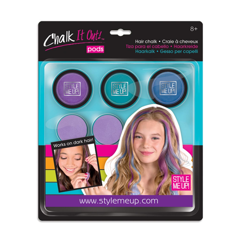 Радужные мелки для волос, 3 цвета, фиолетовый, бирюзовый, голубой - Юная модница, салон красоты, артикул: 175348
