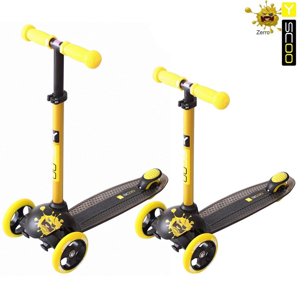 Купить Самокат трехколесный Y-Scoo RT Trio Diamond 120 Monsters, 3 высоты, с блокировкой колес, цвет Zerro желтый