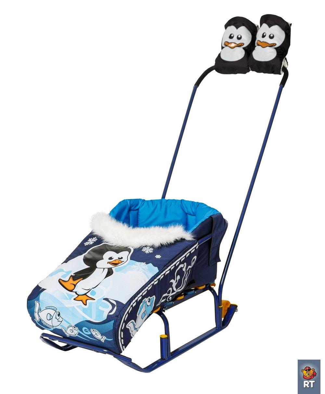 Комплект Пингвиненок : матрасик + варежки. СинийМатрасики, муфты, чехлы в санки<br>Комплект Пингвиненок : матрасик + варежки. Синий<br>