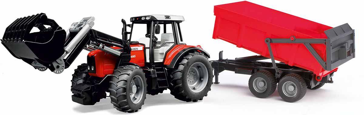 Трактор с погрузчиком и прицепом - Massey Ferguson 7480Игрушечные тракторы<br>Трактор с погрузчиком и прицепом - Massey Ferguson 7480<br>